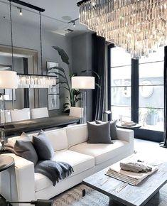 Decor Home Living Room, Living Room Grey, Home And Living, Living Room Designs, Living Room Modern, Kitchen Living, Bedroom Decor, Restoration Hardware Living Room, Restoration Hardware Lighting