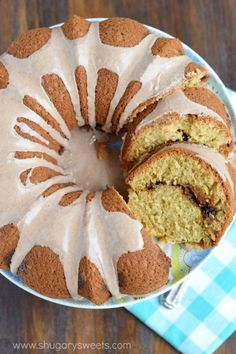 """This Cinnamon Swirl Bundt cake recipe would make a delicious breakfast or dessert! The cinnamon glaze is just the """"icing on the cake!"""""""
