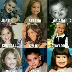 Celebrities When Kids. Celebrities Then And Now, Cute Celebrities, Celebs, Hannah Montana, Disney Channel, Miley Cyrus, Justin Selena, Cool Optical Illusions, Funny Jokes