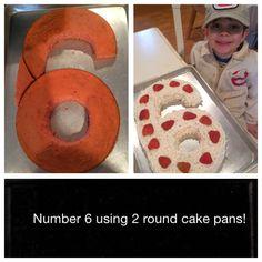 Number 6 birthday cake using 2 round cake pans.