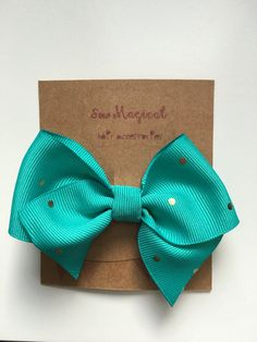 $2.50 Teal Clip in Hair Bow with Gold Polka Dots by SewMagicalByAndrea