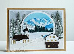 Handmade card by DT member Wybrich with Creatables Austrian Village (LR0443), Horizon Forest (LR0444) and Craftable Basic Round (CR1331) from Marianne Design