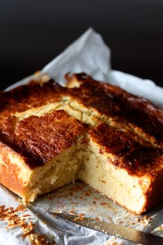 milk and ultra soft semolina cake flavored with vanilla and lemon