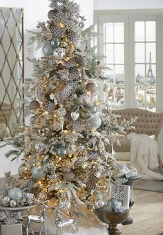 2019 RAZ Christmas Tree Inspiration Too early to start thinking about Christmas inspiration? Most people like to know what's coming down the pike so they can start planning early, pick Country Christmas Trees, Elegant Christmas Trees, Christmas In Paris, Ribbon On Christmas Tree, Christmas Tree Themes, Holiday Decorations, Christmas Mantles, Christmas Villages, Christmas Christmas