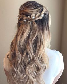 Looking for half up half down hairstyles, here are stunning Beautiful braid Half up and half down hairstyle for romantic brides + bride to be