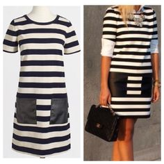 LOWEST  J. Crew stripe pocket dress Cotton.  Thicker material so perfect from fall to summer.   Falls above knee. Patch pockets. Machine wash. From Factory.  Dark navy stripes, black faux leather pockets. J. Crew Dresses
