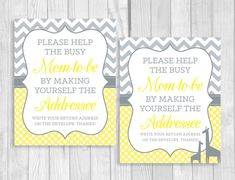 Printable Help the Busy Mom-to-Be 8x10 Write your address - yellow and gray baby shower - by WeddingsBySusan