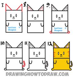 Learn How to Draw a Cartoon Kitty Cat from Uppercase Letter E : Step by Step Drawing Lesson for Kids