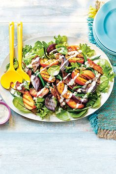 WHAT TO EAT TONIGHT - Griddled peach and bacon salad: Truly *the* best summer flavour combination – and proof you don't always need to make a dressing from scratch