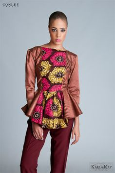 Kaela Kay Collections by Catherine Addai is an African inspired clothing line with a modern twist. The forward thinking clothing line transforms cultural fabrics into modern, sexy, yet feminine and fu Ankara Styles For Women, African Dresses For Women, African Women, African Outfits, African Clothes, African Wear, African Print Fashion, Fashion Prints, African Prints
