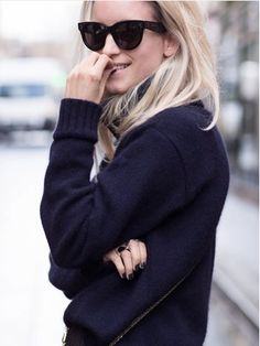 comfy knit navy knit and matchy nails