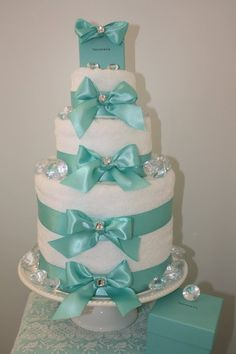 tiffany bridal shower towel cake love the diamonds and the sparkles bridal shower baskets