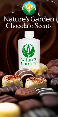 Scrumptious chocolate aromas from the world famous Natures Garden Fragrance Oils. These fragrances are typically used to make candles, soap, cosmetics, room scent, and bath and body products.  #ChocolateScents