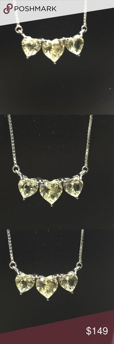 Heart Shape Yellow Labradorite 3 Stone Necklace 2.12CTW  HEART SHAPE  3 GEMSTONE  YELLOW LABRADORITE  STERLING SILVER  NECKLACE. Jewelry Necklaces