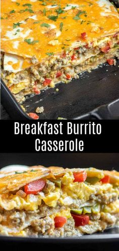 This Breakfast Burrito Casserole is everything you love about a breakfast burrito baked into an easy breakfast casserole. Sausage, cream cheese, peppers, cheddar cheese, and soft tortillas make this a Breakfast Party, Breakfast For A Crowd, Breakfast Dishes, Breakfast Recipes, Breakfast Ideas, Brunch Ideas For A Crowd, Breakfast Pizza, Pancake Recipes, Breakfast Potatoes