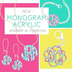 Adrienne's Boutique now offers printed monogram acrylic items. These are so cute and samples of quality can be seen in store.