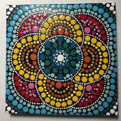 Hand Painted Mandala on Canvas, Dot Art, Meditation Mandala, Calming, Healing, #442 by MafaStones on Etsy