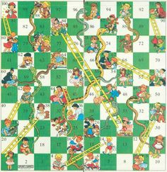 Snakes and ladders board