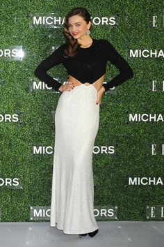 Miranda Kerr travelled to Tokyo with Michael Kors to celebrate her December 2013 cover of Elle Japan. She chose a black-and-white crystal embroidered gown from the designer's Resort 2014 collection for the occasion.
