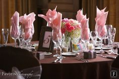 Beautiful Classic Pink and Brown Wedding Theme. Table Decorations for Reception