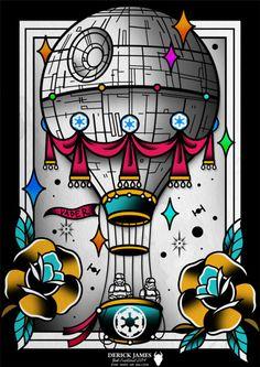 design Darth Vader draw tattoos tattoo watercolor print jedi stormtrooper starwars sith star wars tattoo illusration tattoo flash traditional Deathstar traditional tattoo imperial old school tattoo DerickJames Tiefighter air balloon geektattoo nerdytattoos geek nerd death star tattoo