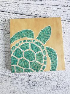 Tur Sea turtle dot art // inch wood sign painting // sea turtle home decor // wall art // ocean nursery decor // nautical decor Small Canvas Paintings, Easy Canvas Art, Small Canvas Art, Easy Canvas Painting, Cute Paintings, Mini Canvas Art, Dot Art Painting, Sign Painting, Canvas Painting Patterns