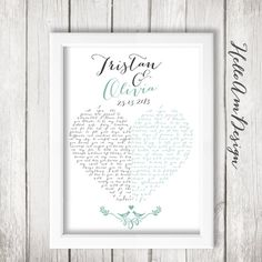1st Anniversary Gift  This lovely art is personalizes your wedding vows. Both of your wedding vows will created a heart when combined. This print would
