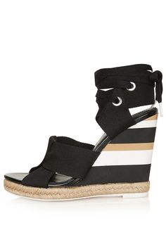 Womens   TOPSHOP UNIQUE Folded Strap Wedge Sandals - Black e2b626a9a