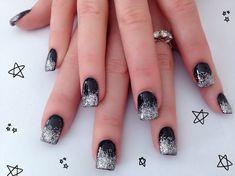 Black & Silver Acrylic Nail Design