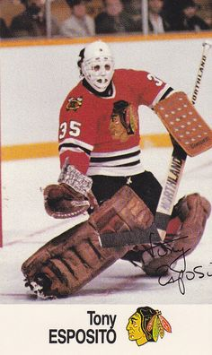 "Remember Anthony James ""Tony O"" Esposito who played for the BlackHawks in Chicago Blackhawks Players, Boston Bruins Hockey, Blackhawks Hockey, Hockey Goalie, Hockey Players, Nhl, Hockey Room, Goalie Mask, Hockey Stuff"
