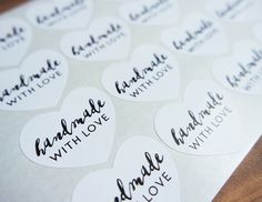 Handmade With Love Heart Stickers Labels Seals by Azmari