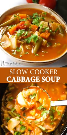 This Slow Cooker Cabbage Soup is the perfect healthy meal that's low in fat and calories, low carb, and it's packed with vegetables! It's so easy to make in the Crock Pot and it's perfect for meal prep! recipes with ground beef Cabbage Soup Recipes, Easy Soup Recipes, Casserole Recipes, Vegetarian Recipes, Cooking Recipes, Healthy Recipes, Soup With Cabbage, Crockpot Cabbage Soup, Weight Watchers Cabbage Soup Recipe