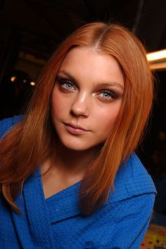Jessica Stam. Red hair + electric blue