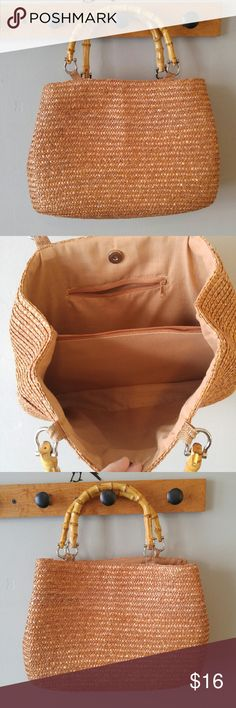 Rose gold straw tote bag bamboo handles This pretty bag is made of woven straw that is a coppery rose gold color! It has bamboo handles. The top snaps shut. There are pockets inside. This bag is in very good condition with some light signs of wear, the only true flaw I found is the zipper does not work on the middle inside compartment, but that still works fine as a drop-in pocket! From a smoke free home :)  POSHF8288straw888 Vintage Bags Totes