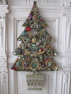 OMG Old Vintage CHRISTMAS TREE Cut Out HANGS with Vintage JEWELRY RHINESTONES