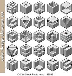 Vector - 3d cube design elements set vector - stock illustration, royalty free illustrations, stock clip art icon, stock clipart icons, logo, line art, EPS picture, pictures, graphic, graphics, drawing, drawings, vector image, artwork, EPS vector art
