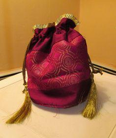 Dark Pink Ethnic Evening Bag/Potli, 10 x 8.5 (inch) https://www.facebook.com/beadsaga