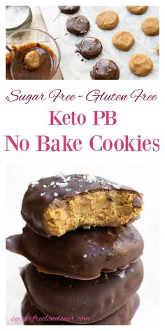 """You only need 4 ingredients to make these easy keto no bake cookies! They have a fudgy peanut butter """"dough"""" filling and a crisp dark chocolate coating. With just 5 minutes prep time, it's a great keto sweet treat to have in the fridge when the snack cravings strike! No Bake Cookies, Keto Cookies, Chocolate Coating, 4 Ingredients, Sugar Free, Cravings, Peanut Butter, Sweet Treats, Muffin"""