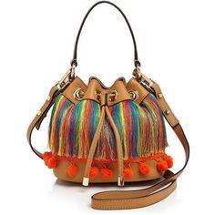 Milly Small Pom Pom Drawstring Bucket Bag In Caramel Fringe Handbags, Mini Handbags, Fringe Purse, Rainbow Bag, White Handbag, White Purses, Unique Bags, Mini Purse, Handmade Bags