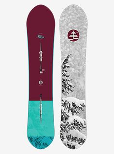Burton Women's Family Tree Day Trader Snowboard : Versatile and surfy shape that thrives on all terrain. - Bend Directional Flat Top (enhancing stability and control) - Shape Directional Shape, T Snowboard Design, Ski And Snowboard, Freestyle Snowboard, Burton Snowboards, Winter Hiking, Winter Fun, Tree Day, Snowboarding Style, Snow Gear