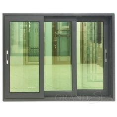 Aluminum sliding window using 3 channels aluminum sliding frame assembled with double reflective glass. It is can open the space maximum and that not take up the rest of space. So it is widely applicable in partition room space and ventilation. Sliding Window Design, Home Window Grill Design, Window Glass Design, Sliding Windows, Sliding Glass Door, Iron Windows, Aluminum Windows Design, Aluminium Windows And Doors, Black Windows Exterior