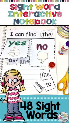 A sight word interactive notebook to increase reading fluency of sight words. A fun hands on activity for kindergarten reading block. Increase reading fluency for your struggling readers, ELL's and special needs students. This resource works great with ho Sight Word Spelling, Teaching Sight Words, Sight Word Practice, Sight Word Games, Sight Word Activities, Interactive Notebooks Kindergarten, Kindergarten Activities, Kindergarten Classroom, Preschool Journals