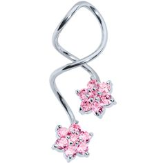 Flower CZ Super Spiral Twister Belly Ring | Body Candy Body Jewelry #bodycandy #piercings #bellyring