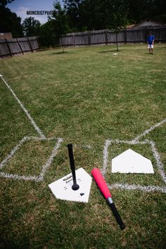 Make a baseball diamond in your backyard for a baseball themed birthday party. Birthday party entertainment.