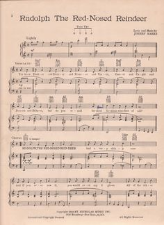 Vintage Rudolph The Red Nosed Reindeer sheet music printable for Christmas DIY and crafts