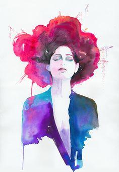 Print of Watercolor Painting Fashion Illustration. titled: Neon Geisha