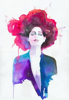 Print of Watercolor Painting Fashion Illustration. titled: Neon Geisha by silverridgestudio on Esty. $35.00