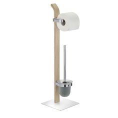 Die Bürstengarnitur Samona ist eine Kombination aus Toilettenpapier-Rollenhalter und offener WC-Garnitur aus satinierten Glas. Das Gestell ist aus hochwertigen Schichtholz kombiniert mit verchromten Metall, die standfeste Bodenplatte ist aus verchromten Metall. Gesehen für € 79,99 bei kloundco.de.