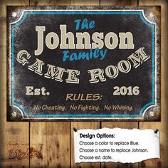 """Custom Family Game Room Sign // 1 Metal Sign // Size - 12"""" x 16"""""""