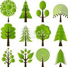 Retro tree designs Royalty Free Stock Vector Art Illustration
